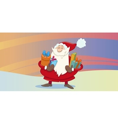 Greeting card with santa claus vector