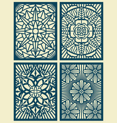 laser cut fretwork pattern cards panels vector image
