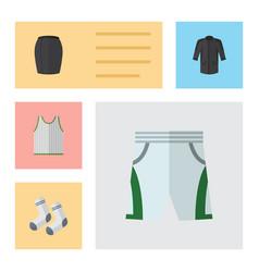 Flat clothes set of stylish apparel singlet foot vector