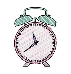 Color pencil graphic pink alarm clock with bells vector