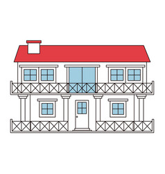 Color sections silhouette facade house of two vector