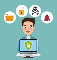 Blue color background laptop with security shield vector
