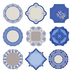 Victorian Tags and Frames - Porcelain Vintage Set vector image
