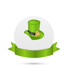 Greeting card with hat and ribbon for st patricks vector