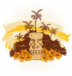Beige and orange hawaii grunge vector
