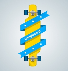Ad layout for longboard with blue ribbon vector