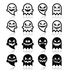 Halloween scary ghost black icons set vector