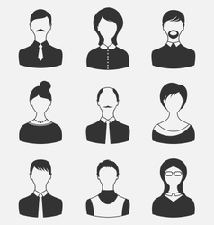 Set business people different male and female user vector