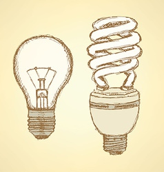 Sketch light bulbs in vintage style vector