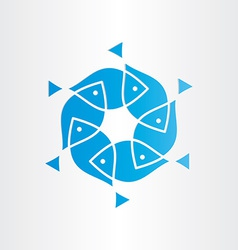 Blue fish in circle design element vector