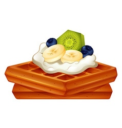 Waffle with cream and fruits vector