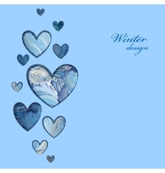 Winter frozen glass heart design love card vector