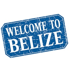 Welcome to belize blue square grunge stamp vector