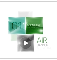 Glass square banner vector