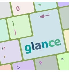 Glance word on keyboard key notebook computer vector