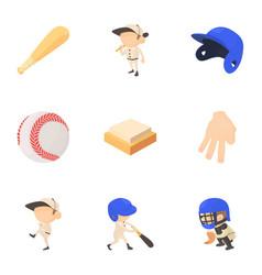 baseball equipment icons set cartoon style vector image