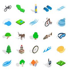 beautiful icons set isometric style vector image vector image