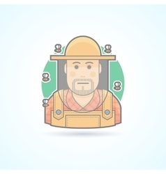 Beekeeper man in a bee protective veil icon vector