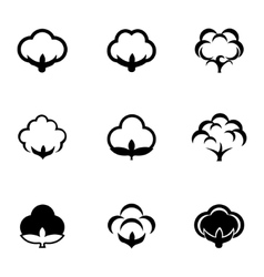 Black cotton icon set vector