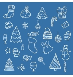 Doodle christmas elements vector