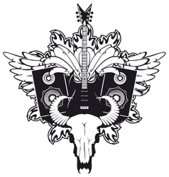 electric guitar and cow skull vector image vector image