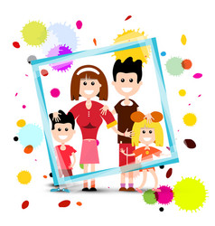 Family in frame with colorful splashes isolated vector