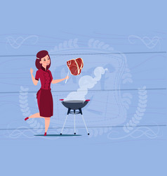 Female chef cook grilling meat cartoon chief in vector