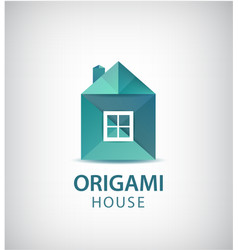 Green origami house building logo icon vector