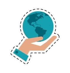 Hand holding world concept communication cut line vector
