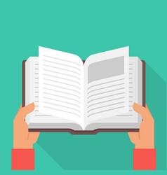 hands holding open book vector image