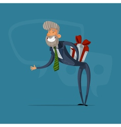 Happy businessman or manager greeted with a gift vector