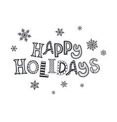 happy holidays zentangle vector image