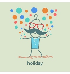 holiday at the person with colorful fireworks vector image