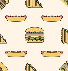 hot dog club sandwich burger colored outline vector image vector image