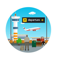 Icon of waiting room with people at the airport vector