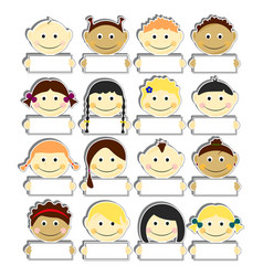 Kids with clear nameplates set vector