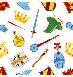 kingdom pattern - castle spear shield knights vector image