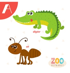 Letter A Cute animals Funny cartoon animals in vector image