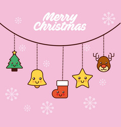 merry christmas decoration garland with bell tree vector image