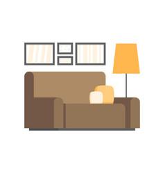 Modern living room interior design icon vector