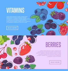 Natural vitamins flyers with berries vector