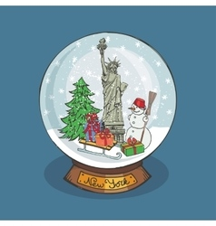 New york Christmas Snow globeDoodle landmark vector image