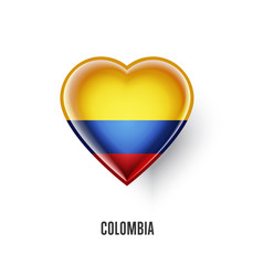 Patriotic heart symbol with colombia flag vector