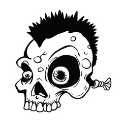 Punk skull black and white vector