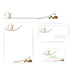 Real estate corporate identity templates vector