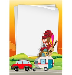 Roadtrip with car full of bags vector image vector image