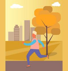 roller-skating man in park vector image vector image