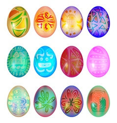 Set of colorful easter egg vector image vector image