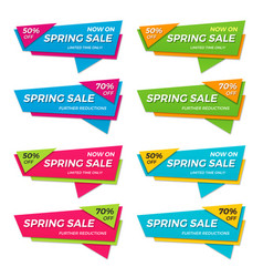Set of spring sale labels price tags banners vector