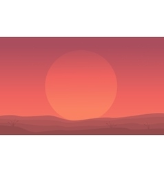 Silhouette of hill and big sun scenery vector image vector image